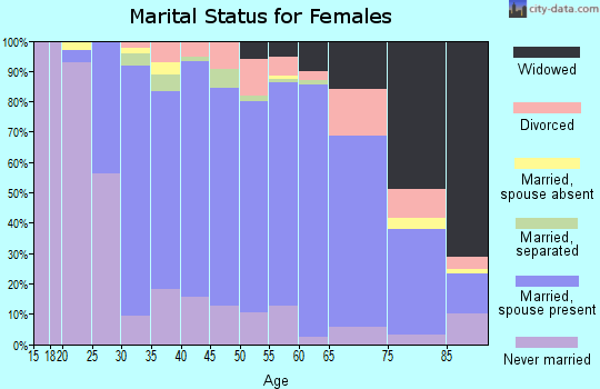 Zip code 19073 marital status for females