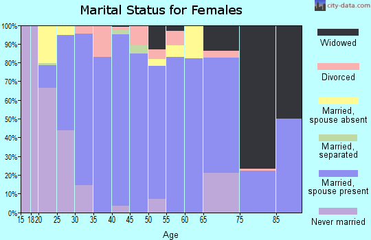 Zip code 19311 marital status for females