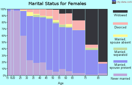 Zip code 19380 marital status for females