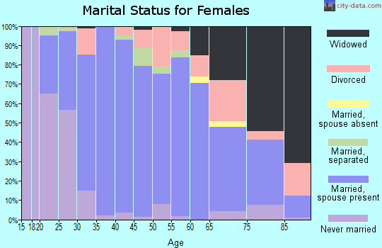 Zip code 19390 marital status for females