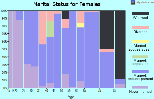 Zip code 19547 marital status for females