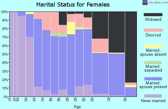 Zip code 19565 marital status for females