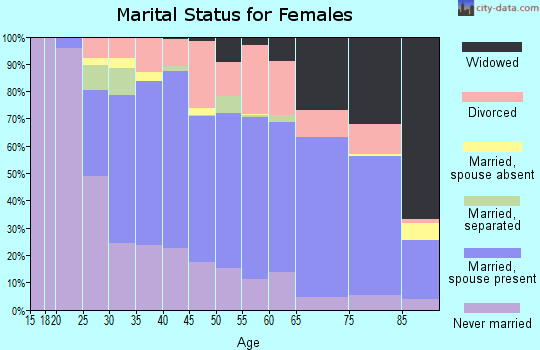 Zip code 19605 marital status for females