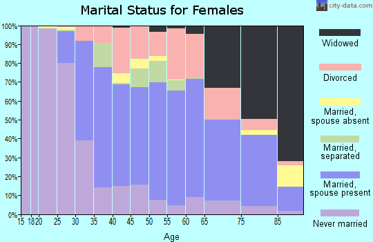 Zip code 19607 marital status for females