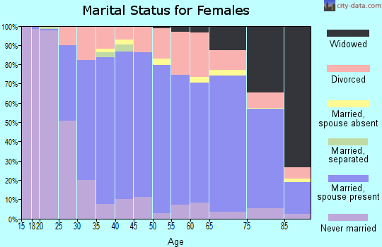 Zip code 19610 marital status for females