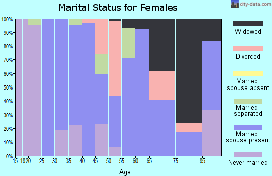 Zip code 19954 marital status for females