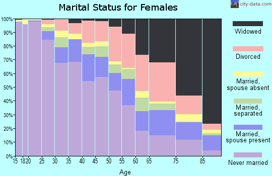 Zip code 20019 marital status for females