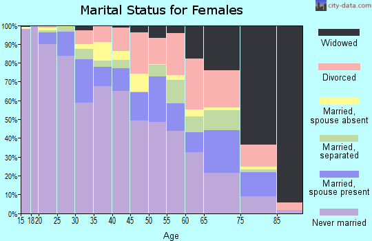 Zip code 20032 marital status for females