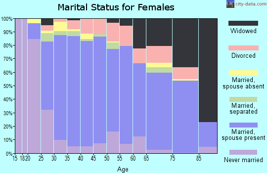 Zip code 20155 marital status for females