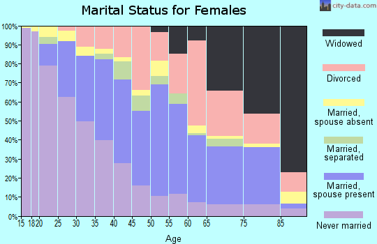 Zip code 20602 marital status for females