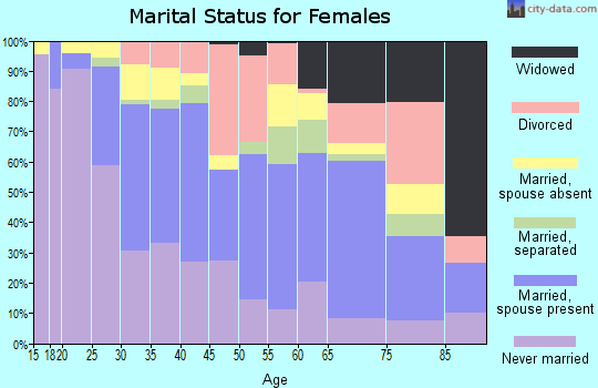Zip code 20903 marital status for females