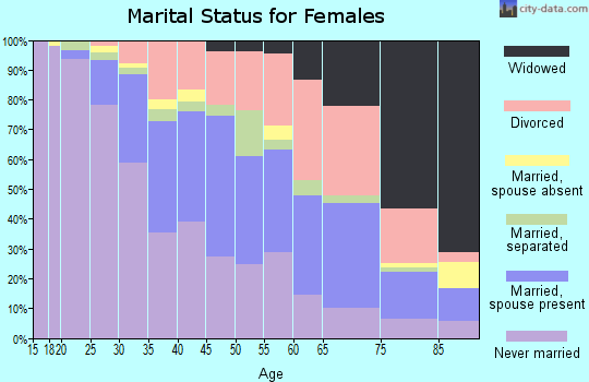 Zip code 21225 marital status for females