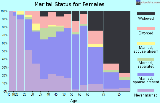 Zip code 21801 marital status for females