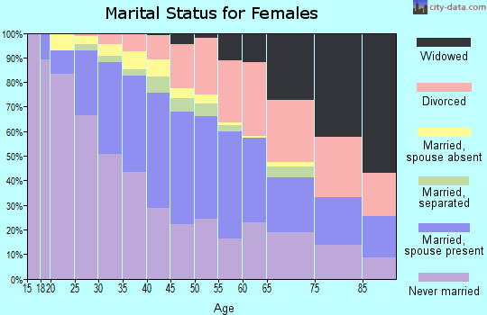 Zip code 22204 marital status for females