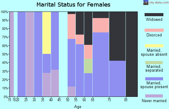 Zip code 22576 marital status for females