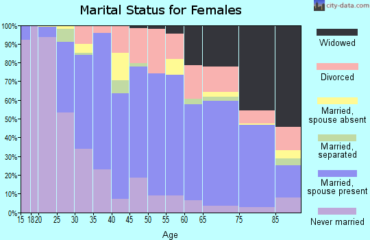 Zip code 22801 marital status for females