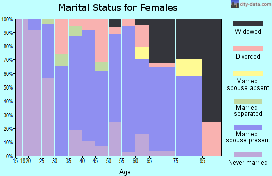 Zip code 23024 marital status for females