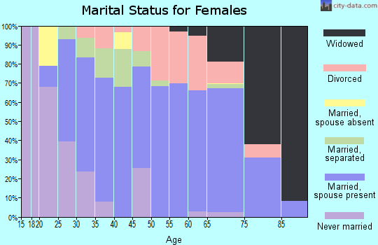 Zip code 23181 marital status for females
