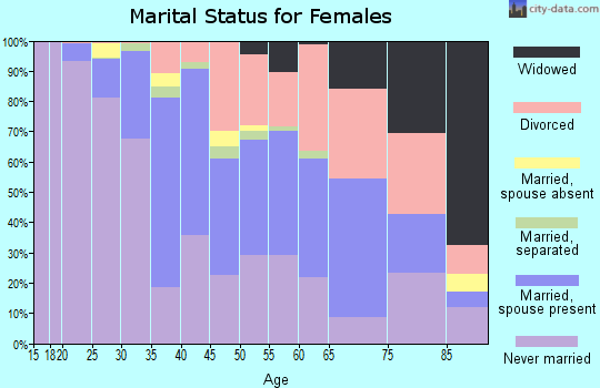 Zip code 23221 marital status for females