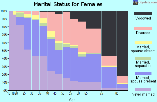 Zip code 23228 marital status for females