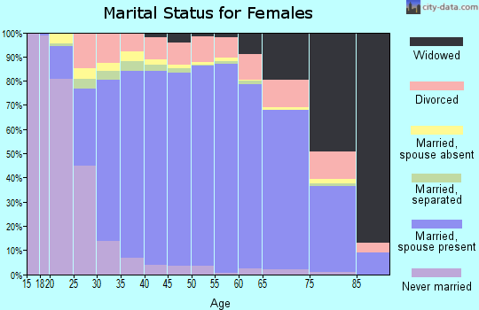 Zip code 23322 marital status for females