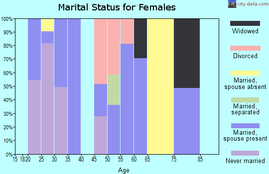 Zip code 23415 marital status for females
