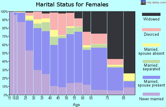 Zip code 23434 marital status for females