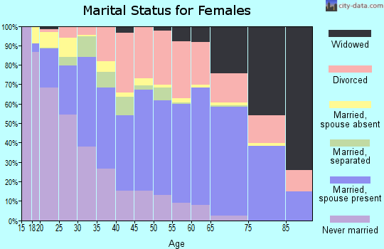 Zip code 23518 marital status for females