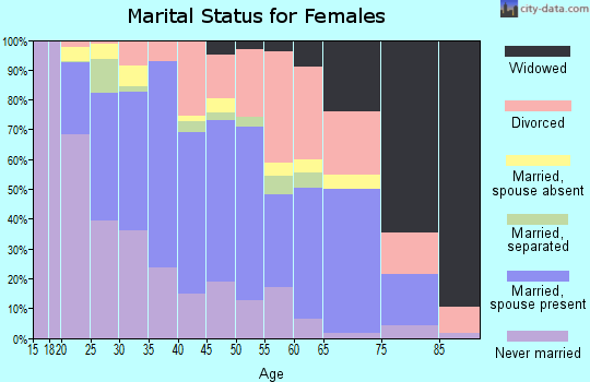 Zip code 23601 marital status for females