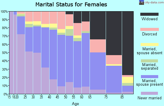 Zip code 23666 marital status for females