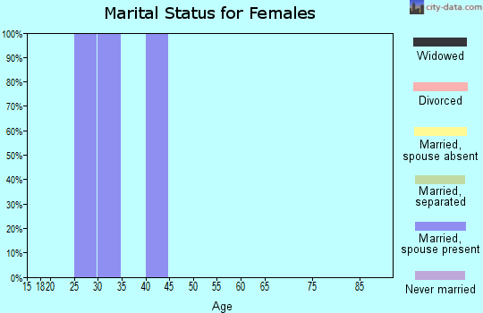 Zip code 23691 marital status for females