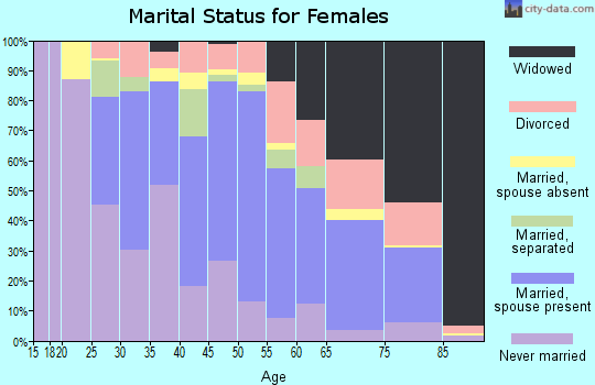 Zip code 23847 marital status for females