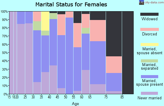 Zip code 23883 marital status for females