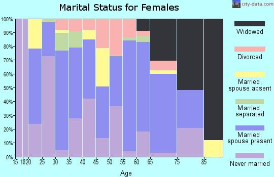 Zip code 23890 marital status for females