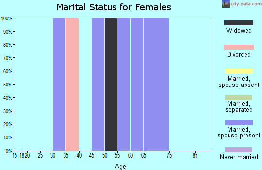 Zip code 25005 marital status for females