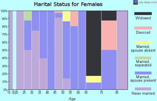 Zip code 25106 marital status for females