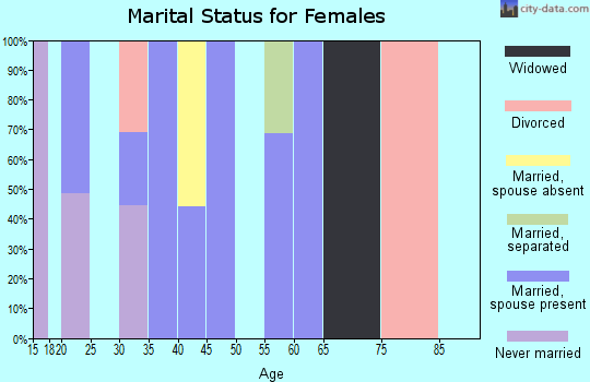 Zip code 25169 marital status for females