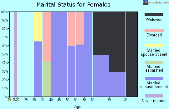Zip code 25268 marital status for females