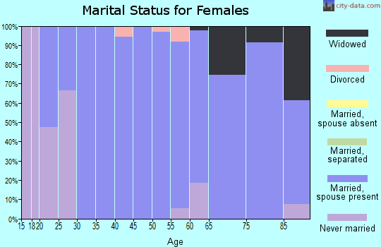 Zip code 25270 marital status for females