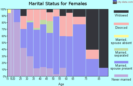 Zip code 25313 marital status for females