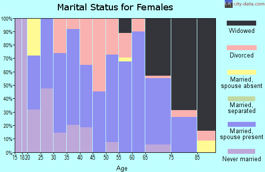 Zip code 25320 marital status for females