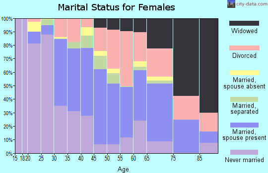 Zip code 25401 marital status for females