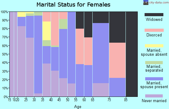 Zip code 25438 marital status for females