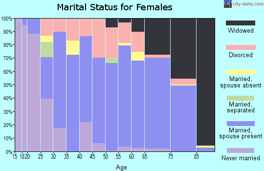 Zip code 25504 marital status for females