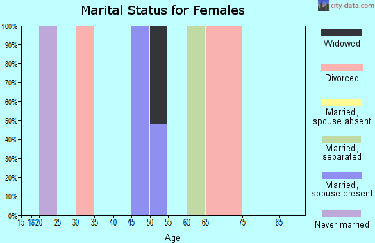 Zip code 25672 marital status for females