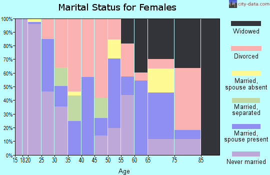 Zip code 25703 marital status for females