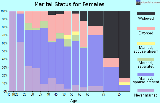 Zip code 25705 marital status for females