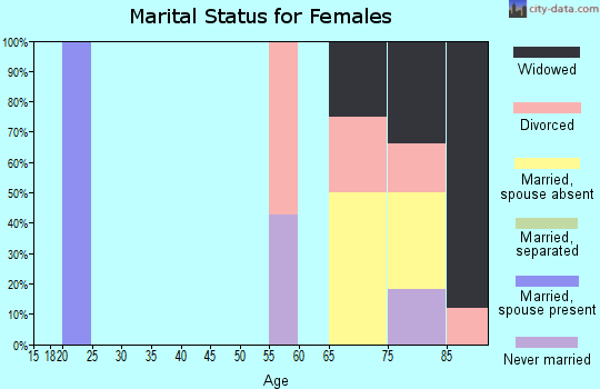 Zip code 25855 marital status for females