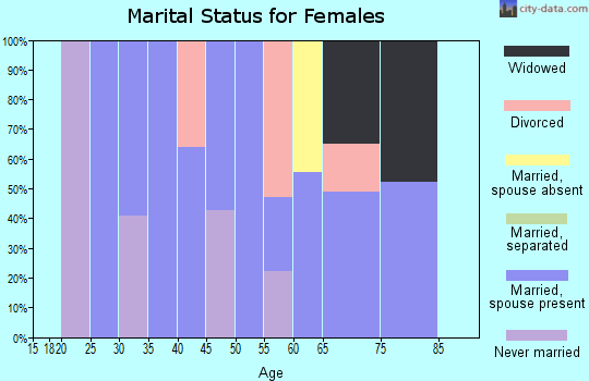 Zip code 25971 marital status for females