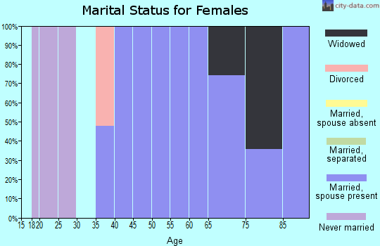 Zip code 25978 marital status for females